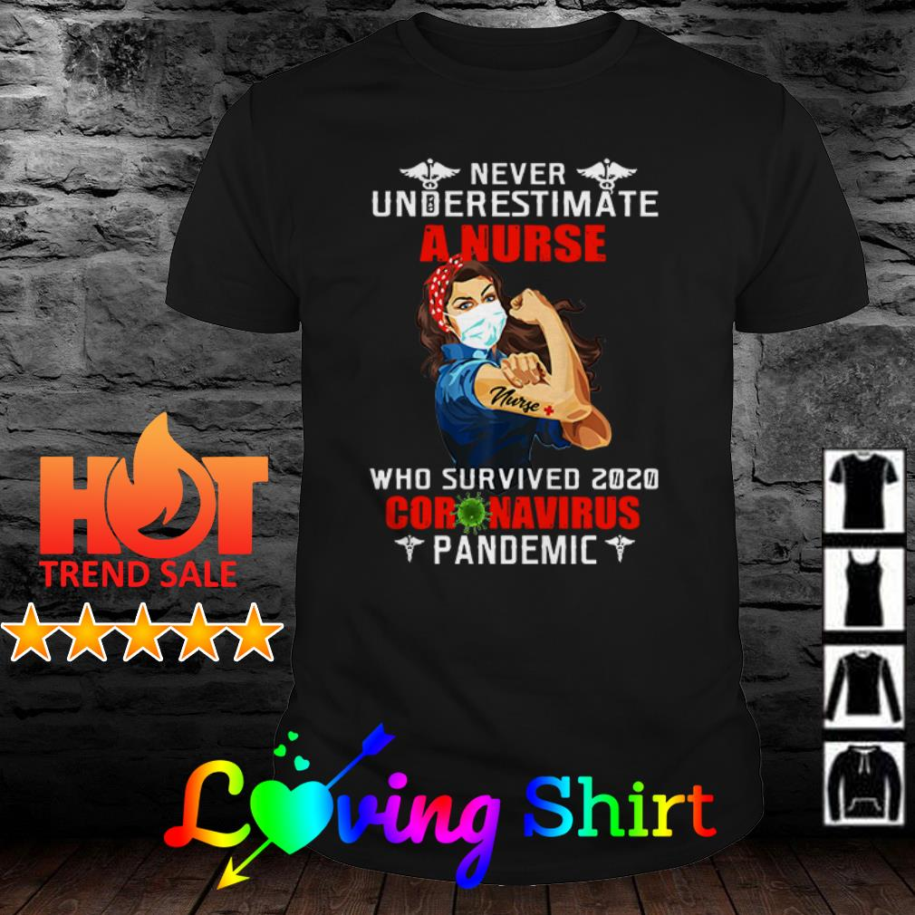 Nurse strong never underestimate a nurse who survived 2020 Coronavirus pandemic shirt