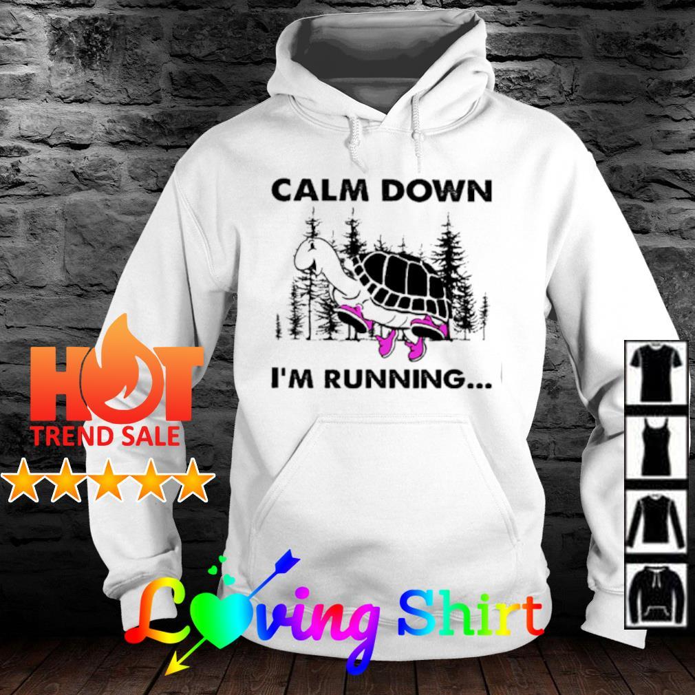 Turtle Calm down I'm running s hoodie