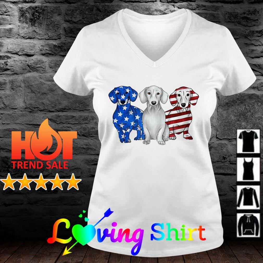 Dachshund Red white and blue American flag shirt