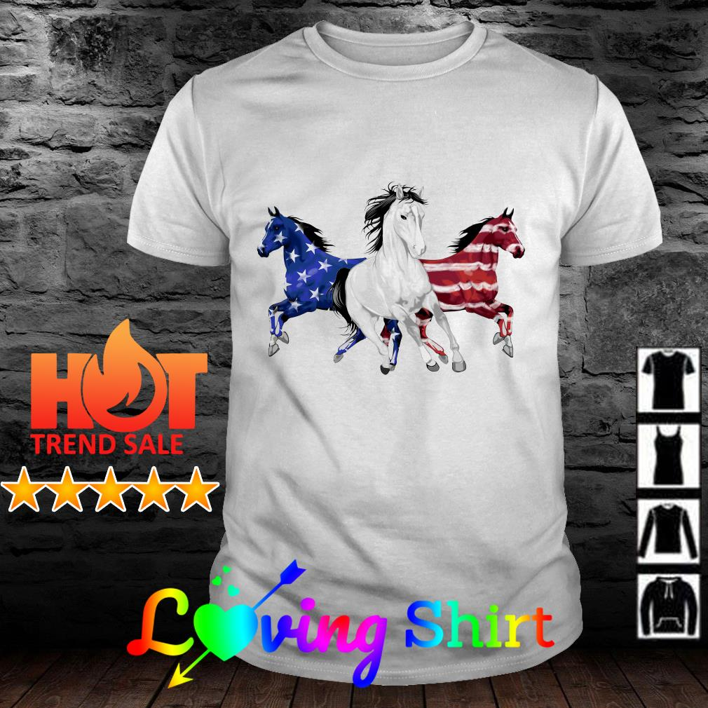 Horse red white and blue American flag shirt