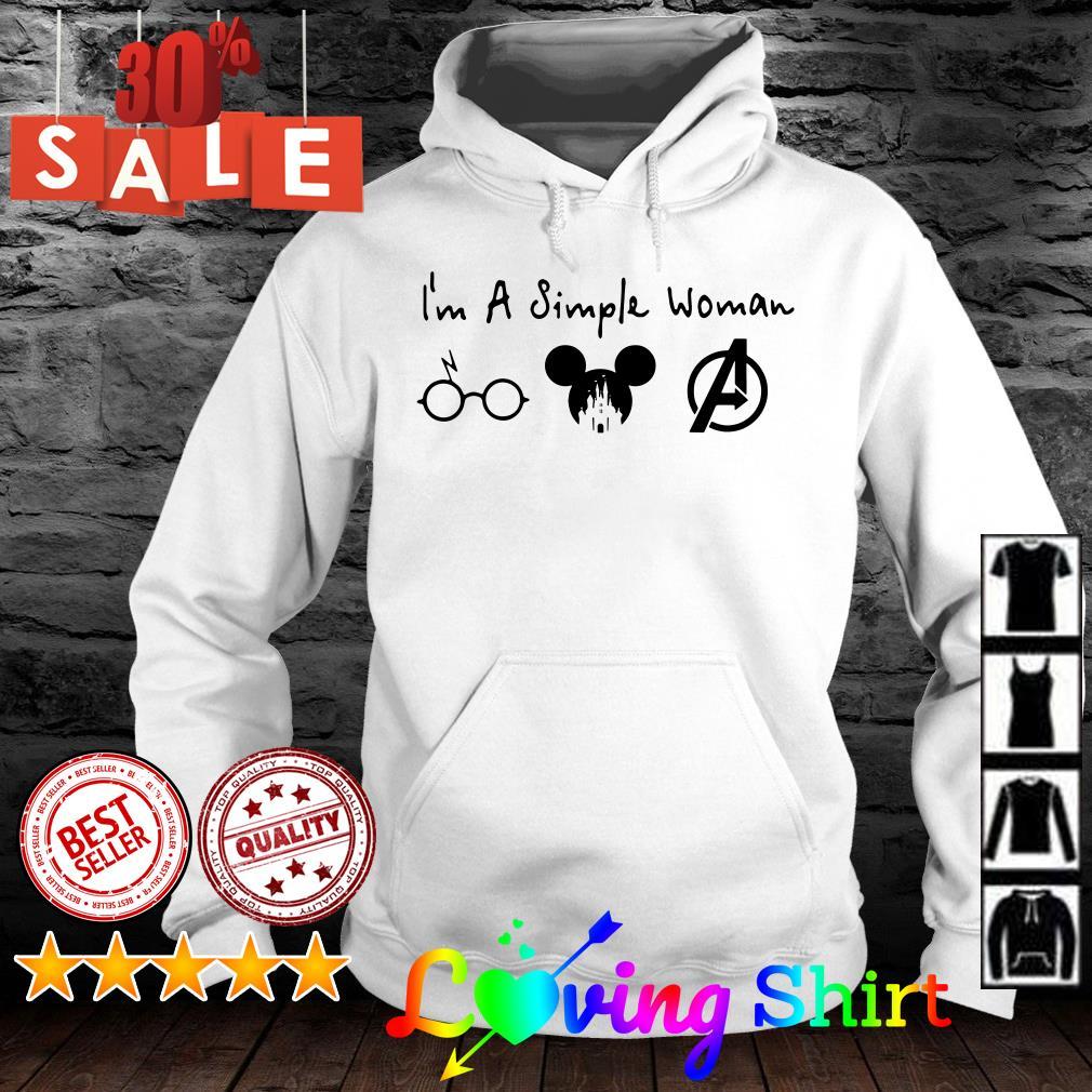 I'm a simple woman I like Harry Potter Disney Mickey and Avengers shirt