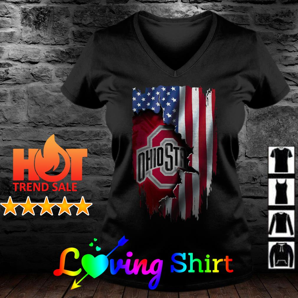Independence Day 4th of July Ohio State Head American Flag shirt