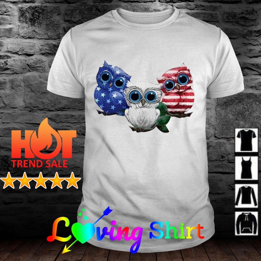 Owl red white and blue American flag shirt
