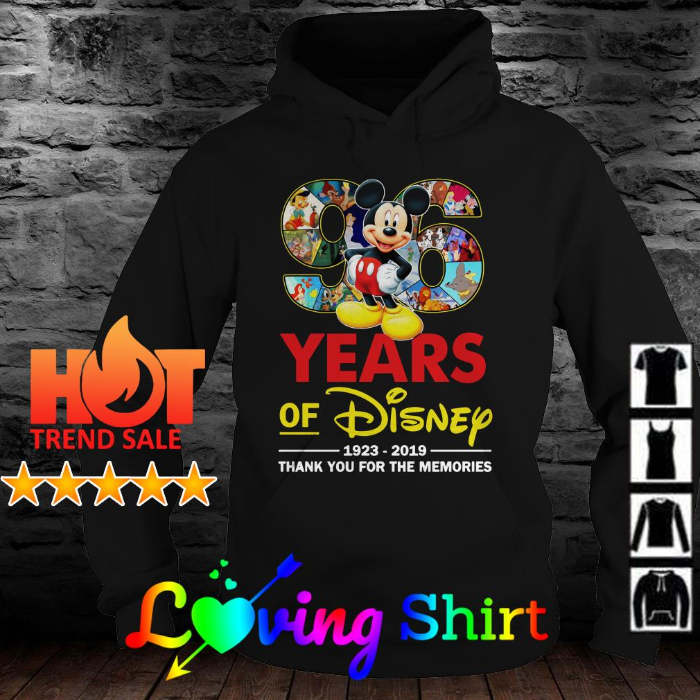96 year of Disney 1923 2019 thank you for the memories shirt