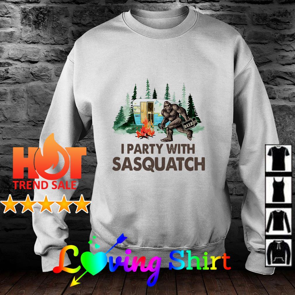Bigfoot I party with sasquatch camping shirt