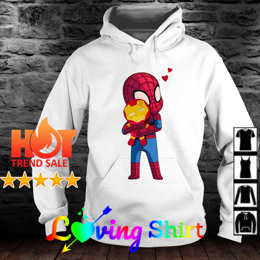 Spider-Man hug baby Iron man shirt