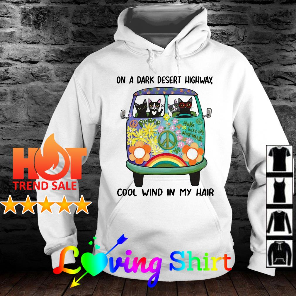 Cats and Hippie Bus on a dark desert highway cool wind in my hair shirt