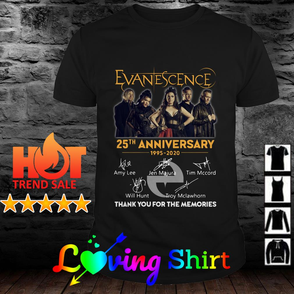 Evanescence 25th anniversary thank you for the memories signature shirt