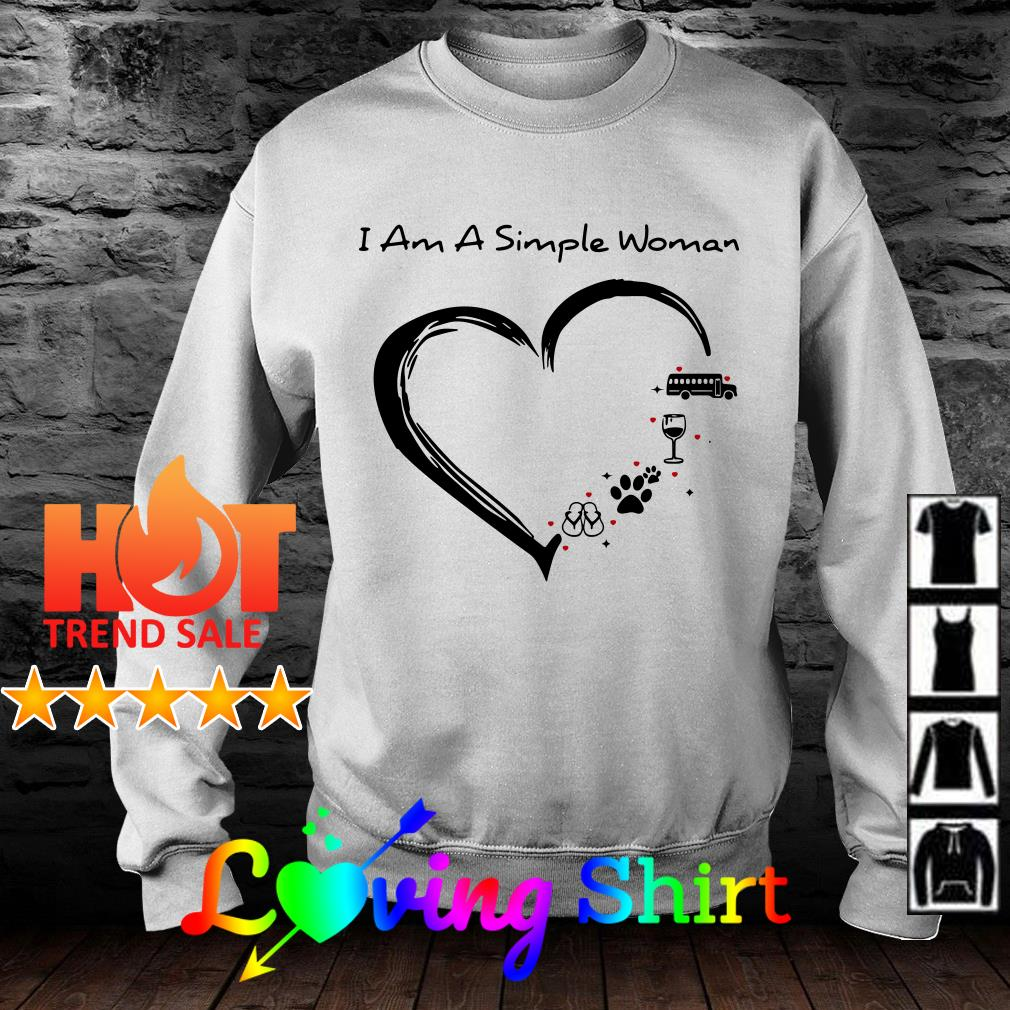 I am a simple woman love Bus wine animals and flip flop shirt