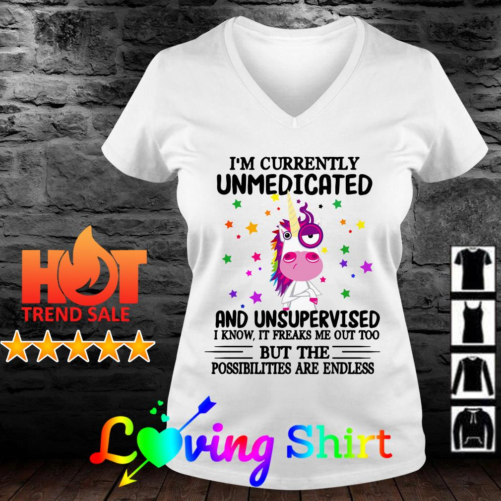 Unicorn I'm currently unmedicated and unsupervised I know it freaks me out too shirt