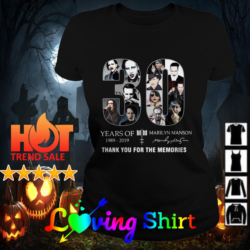 30 years of Marilyn Manson 1989 2019 thank you for the memories shirt