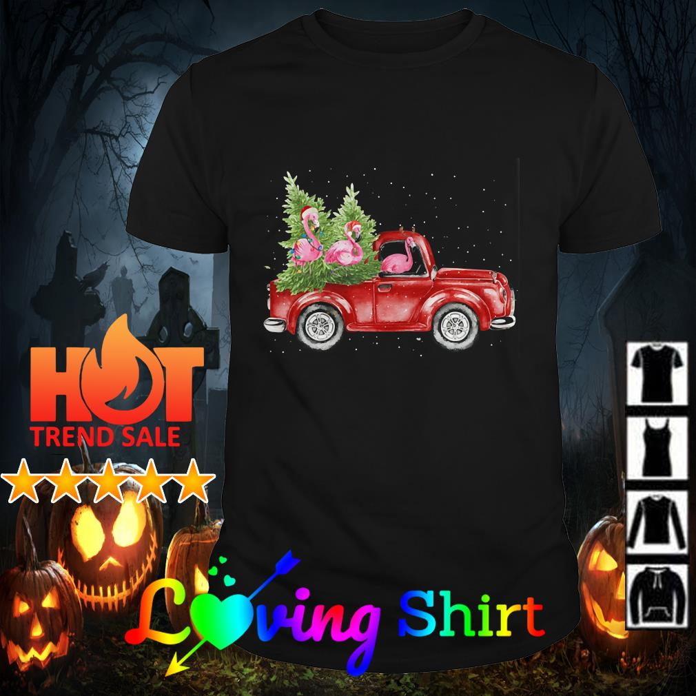 Flamingos truck Christmas Tree shirt