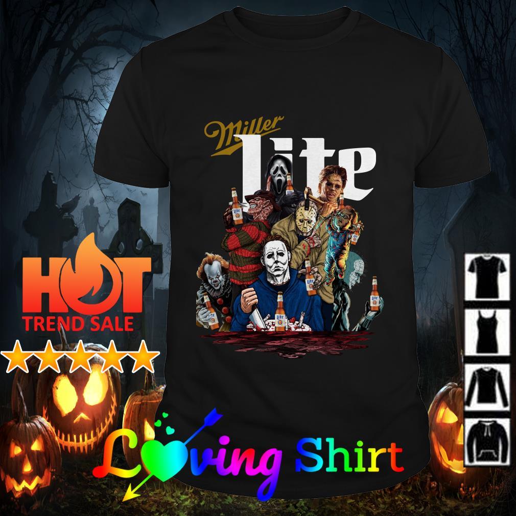Horror character movie drink Miller Lite shirt