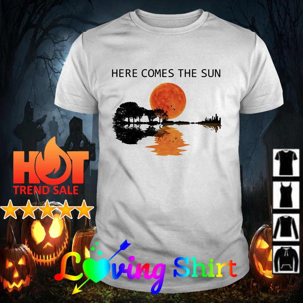 Natural Guitar sunset here comes the sun shirt