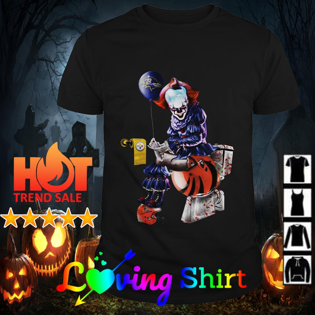 Pennywise Baltimore Ravens Pittsburgh Steelers and Cleveland Browns toilet shirtPennywise Baltimore Ravens Pittsburgh Steelers and Cleveland Browns toilet shirt