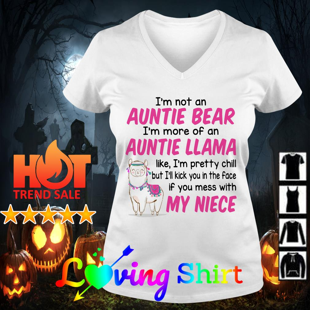 Pink I'm not an auntie bear I'm more of an auntie llama like I'm pretty chill shirt