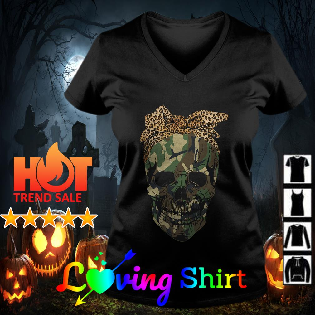 Skull wearing bandana leopard shirt