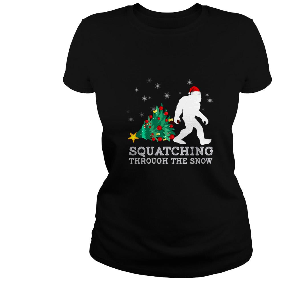 Bigfoot squatching through the snow Christmas ugly sweater