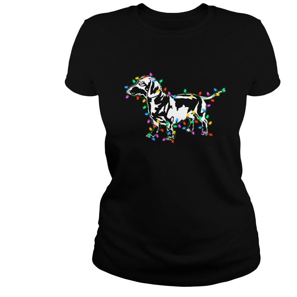 Dachshund Christmas lights shirt