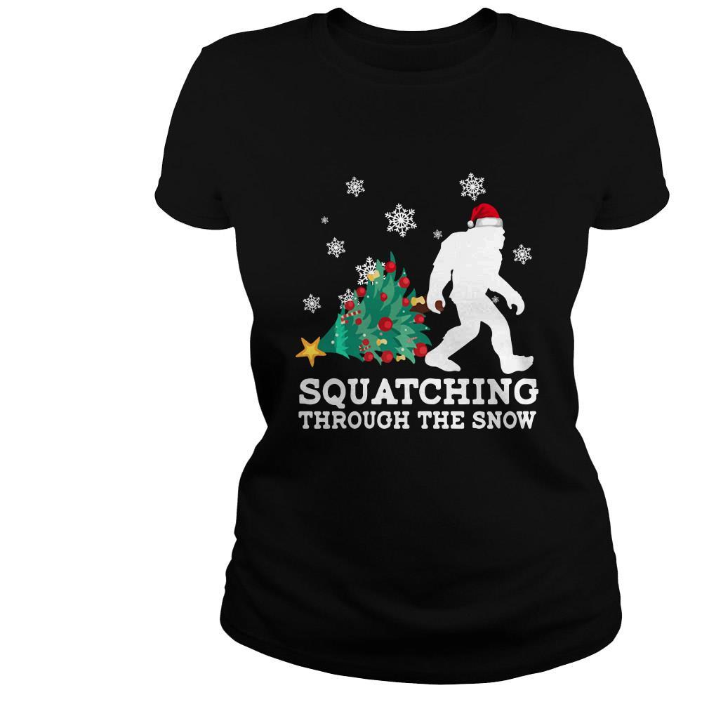 Merry Christmas Bigfoot Santa squatching through the snow shirt
