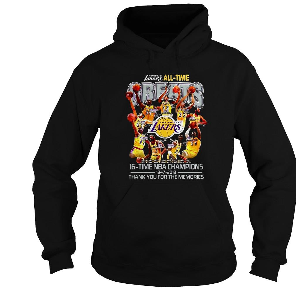 Los Angeles Lakers all time 16 time NBA Champions 1947 – 2019 thank you for the memories signature shirt