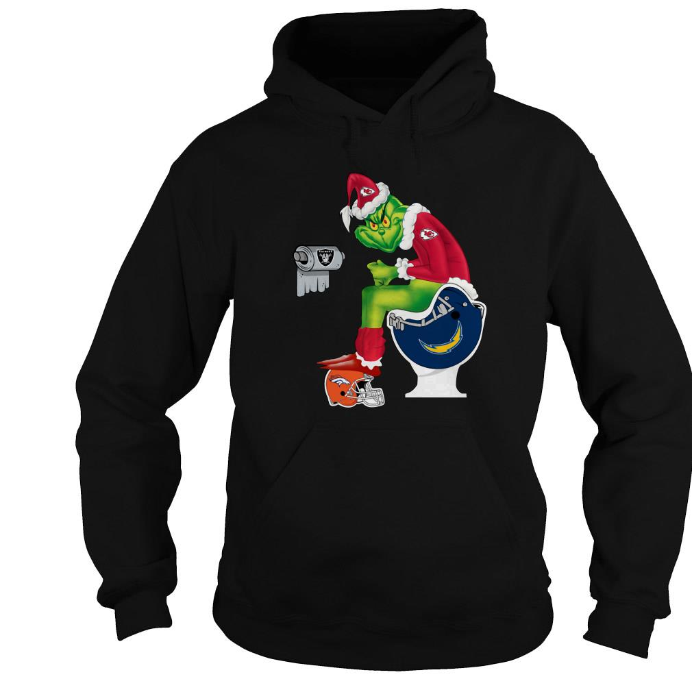 Santa Grinch Kansas City Chiefs toilet Christmas ugly sweater