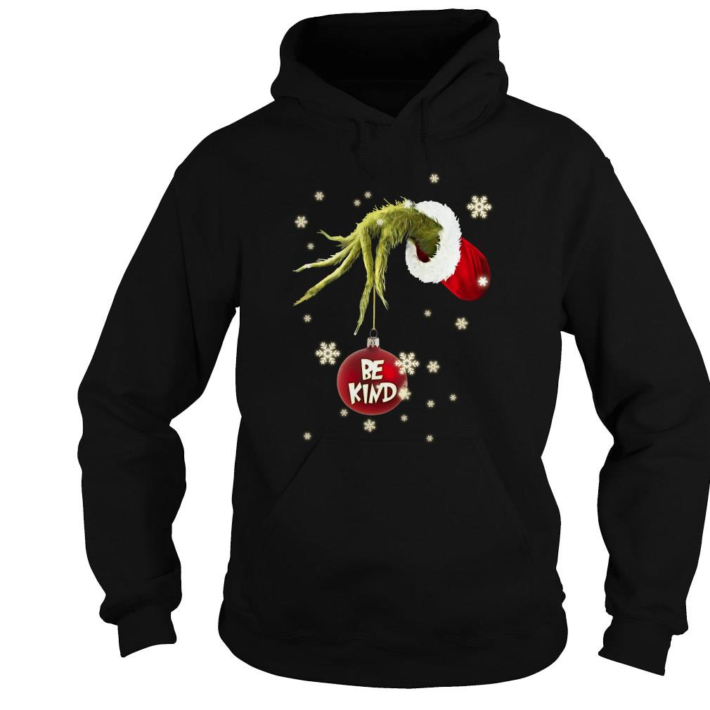 Be kind Grinch hand holding Christmas shirt