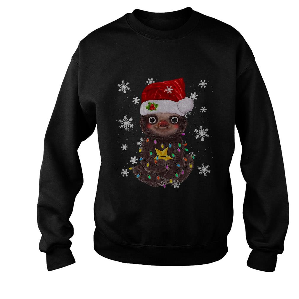 Merry Christmas Sloth light ugly sweater