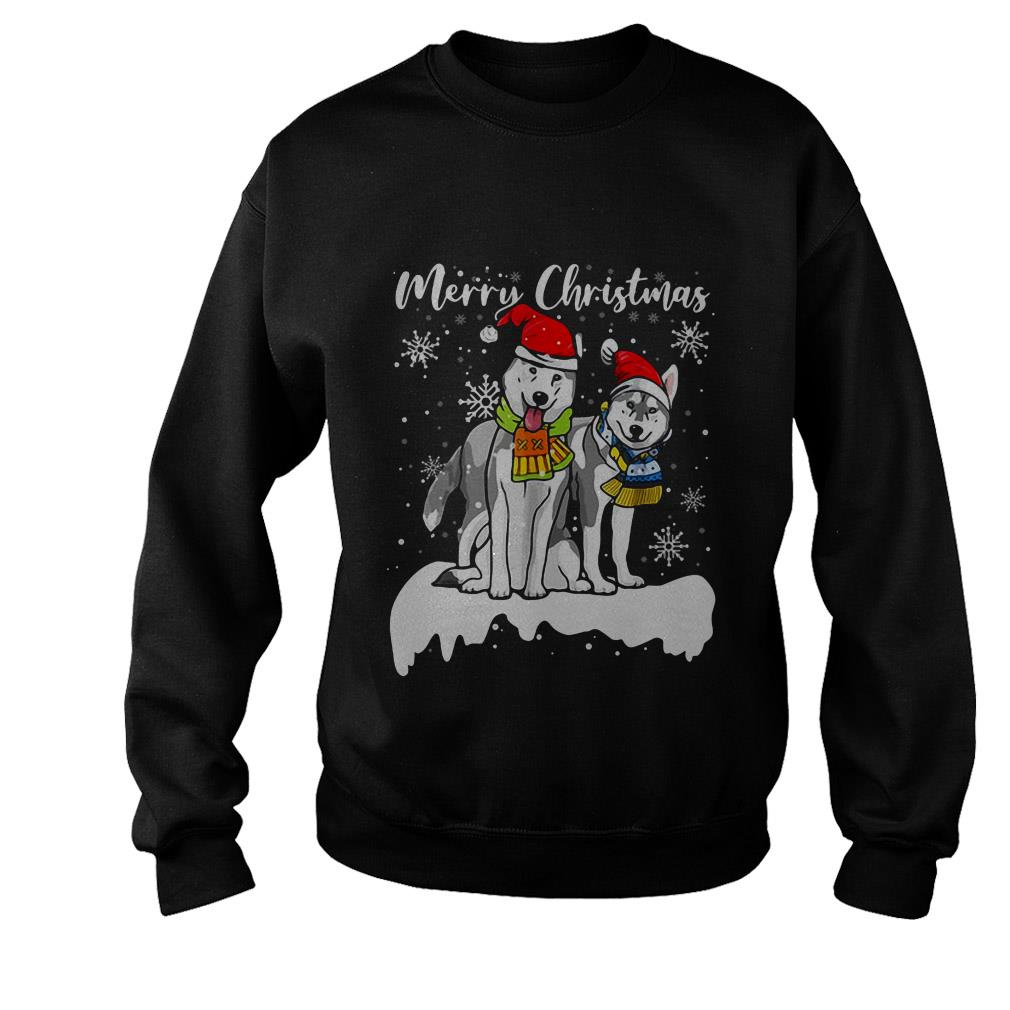 Merry Christmas Santa Siberian Husky ugly sweater