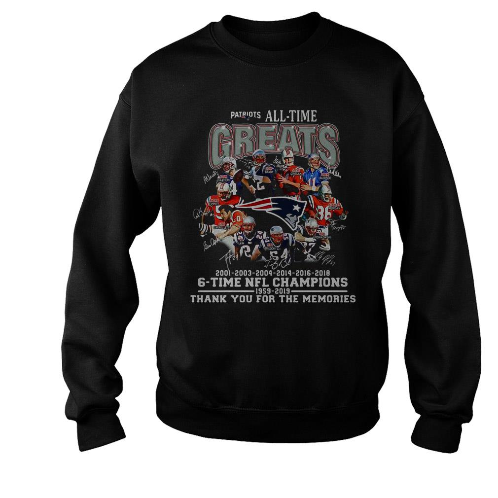 New England Patriots all time greats 6 time NFL Champions 1959 – 2019 thank you for the memories signature shirt