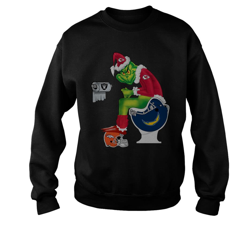 Santa Grinch Kansas City Chiefs toilet Christmas ugly sweater