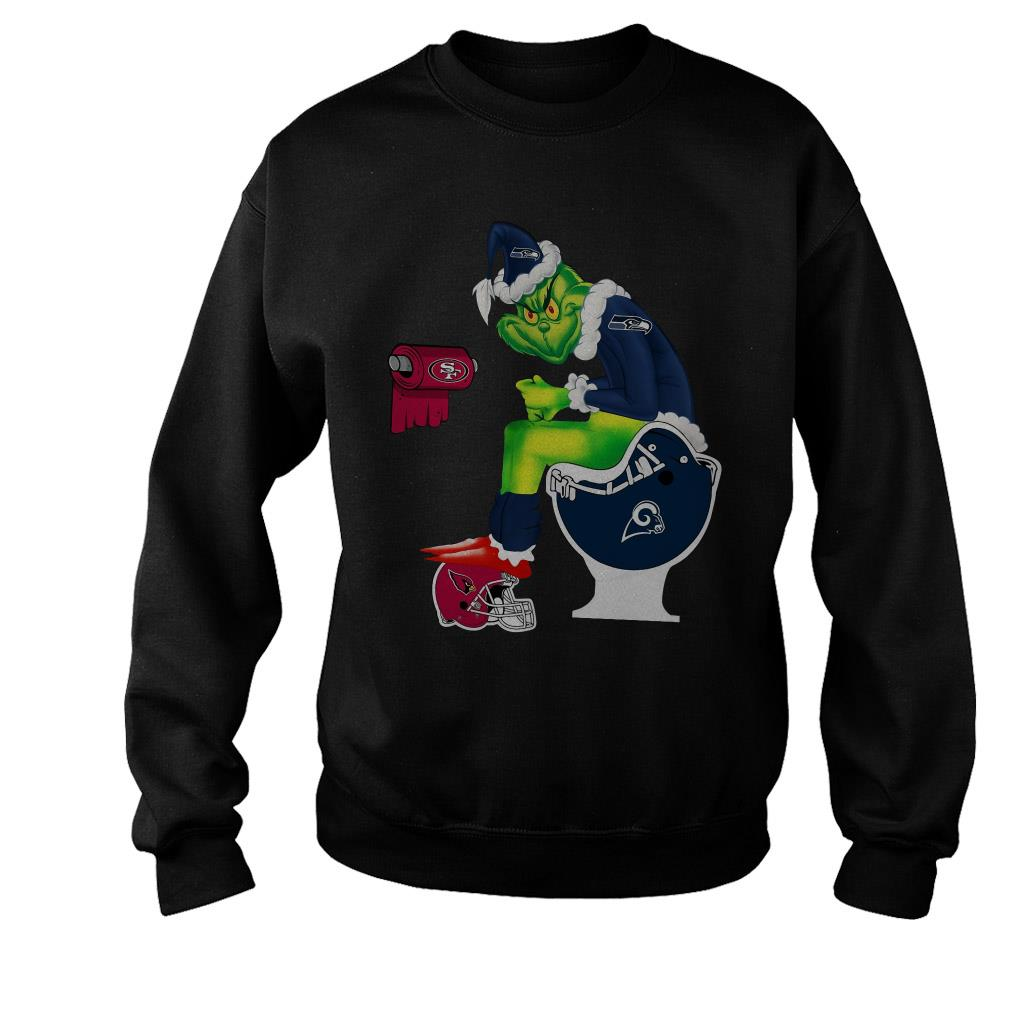 Santa Grinch Seattle Seahawks toilet Christmas ugly sweater