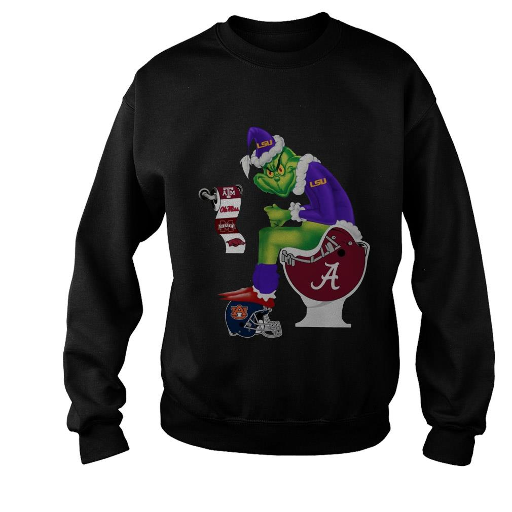 Alabama Crimson Tide Grinch toilet LSU Tigers Texas A&M Aggies Christmas sweater