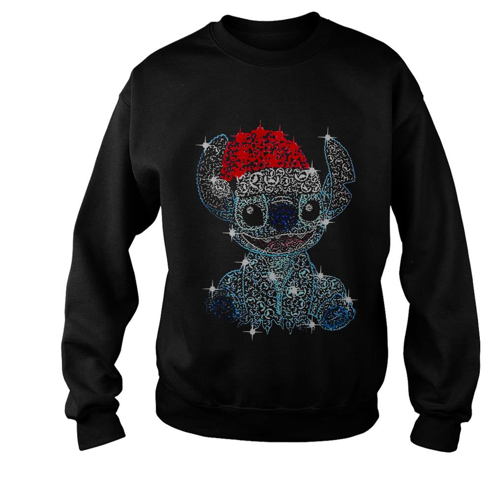 Christmas Stitch rhinestone Santa hat shirt