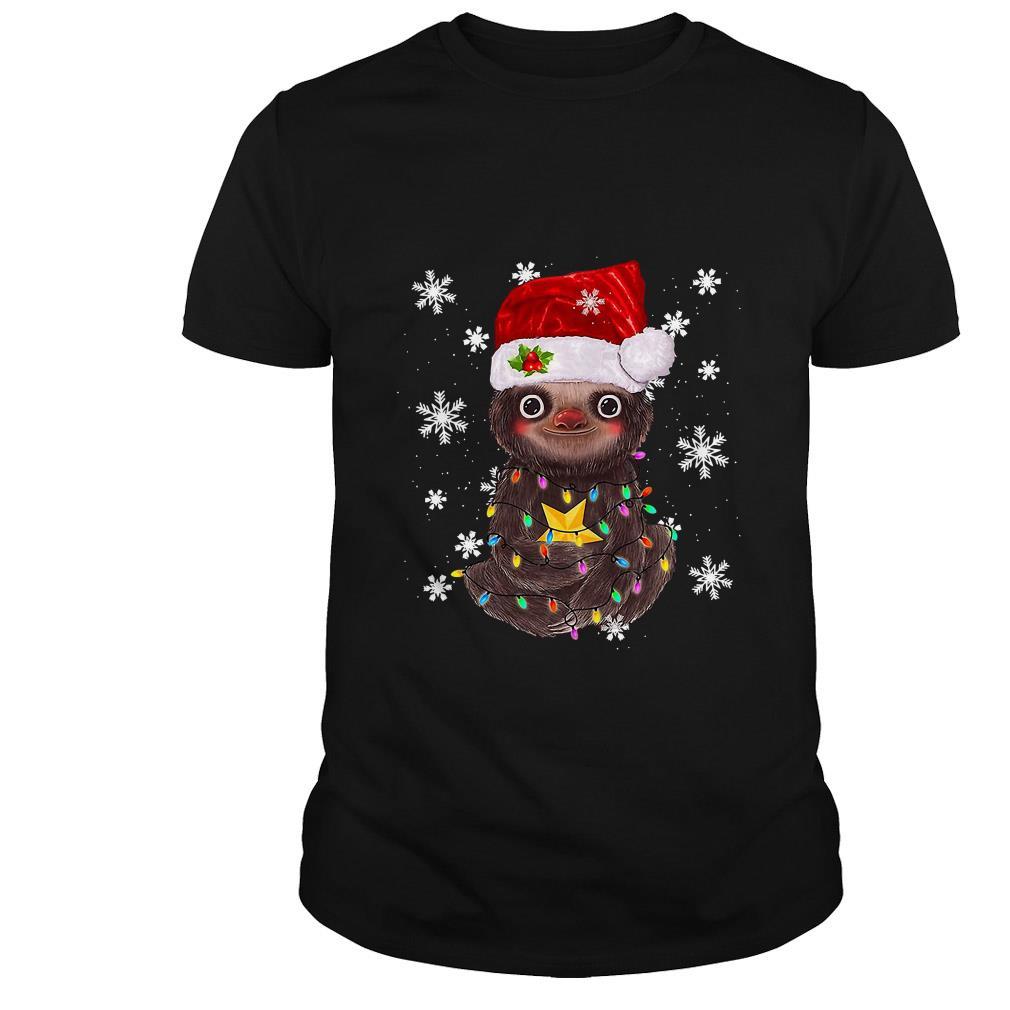 Merry Christmas Sloth light ugly sweater
