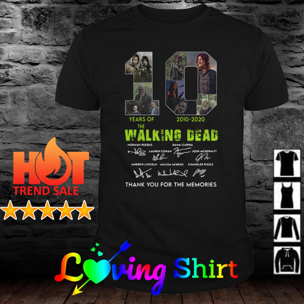 10 years of The Walking Dead 2010-2020 all characters signatures shirt