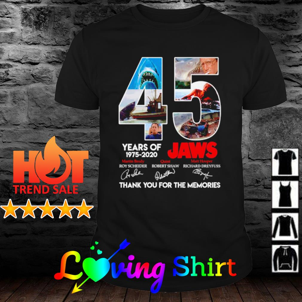 45 years of Jaws 1975 2020 thank you for the memories shirt