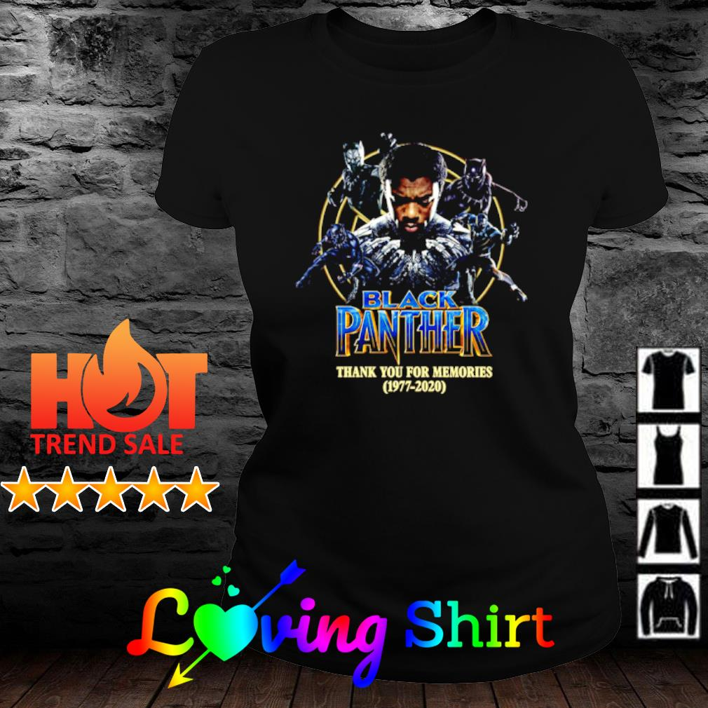 Chadwick Boseman Black Panther thank you for the memories 1977 2020 s ladies-tee